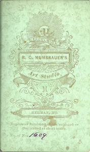 Reverse of an R. C. Mumbrauer carte de visite, on green card stock, of an unidentified woman and children (found by Kathy Wieland).